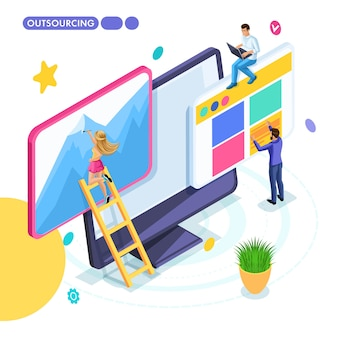 Isometric business concept, outsourcing, remote work, freelancing, collaborating on one project.