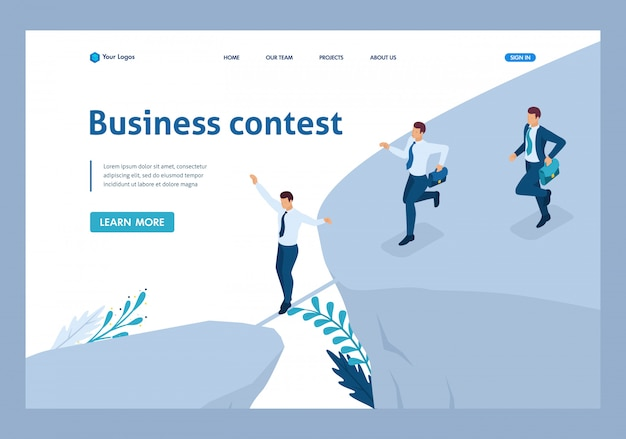 Isometric business concept, participate in business competitions