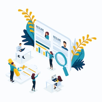 Isometric business concept, resume, recruiting, head hunters, hr manager. modern illustration concept website