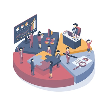 Isometric business concept of the structure of interaction in the company.
