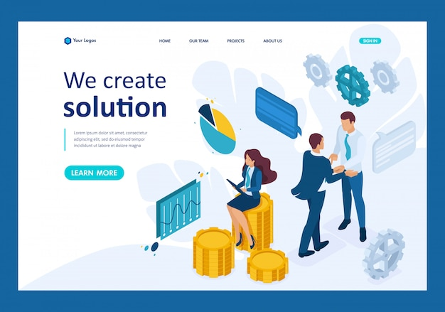 Isometric business concept of teamwork to create a solution