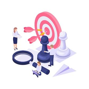 Concetto di affari isometrico con illustrazione di caratteri di lavoro della lente di ingrandimento dei pezzi degli scacchi colorati