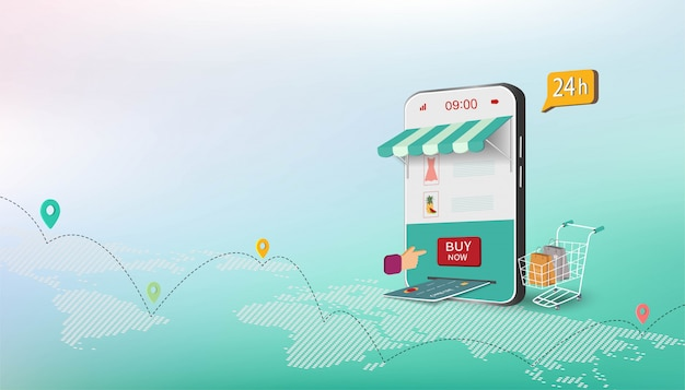 Isometric business concept with shopping online on website or mobile application
