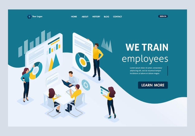 Изометрические бизнес-концепции, обучение персонала, повышение уровня знаний сотрудников организации. отличная концепция для целевой страницы