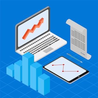 Isometric business data chart