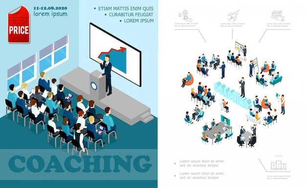 Изометрическая композиция для бизнес-образования с лектором, выступающим перед аудиторией. мозговой штурм.