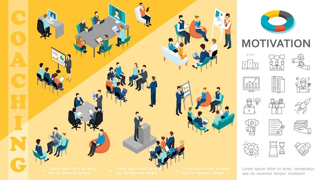 Isometric business education composition with staff take part in conference coaching seminar brainstorming consultation motivation linear icons