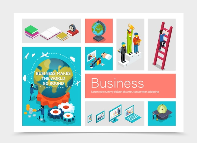 Isometric business elements set with businessmen on pedestal man climbs stairs earth globe modern devices apple on graduation cap books alarm clock gears