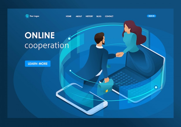 Isometric business, global online collaboration between large companies landing page