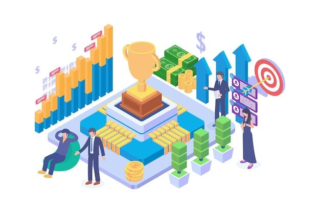 Isometric business goal achievement concept