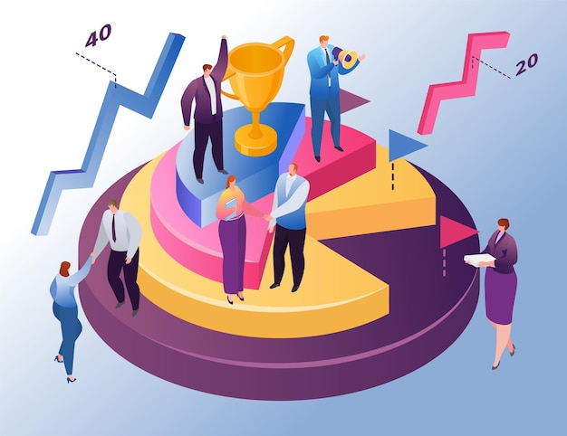 Isometric business graph, vector illustration. tiny man woman character stand at round chart with trophy, finance diagram report. boss promote worker team to business success growth, analysis graphic.