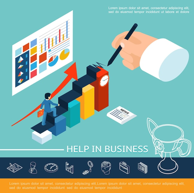 Isometric business help concept with businessman walking stairs writing hand diagrams charts graphs on sheet and linear icons  illustration