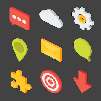Isometric business icons set. flat 3d vector illustration of nine icons