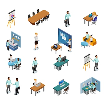 Isometric business icons set