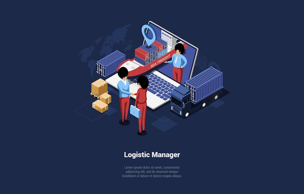Isometric business illustration of logistic manager characters shaking hands near laptop