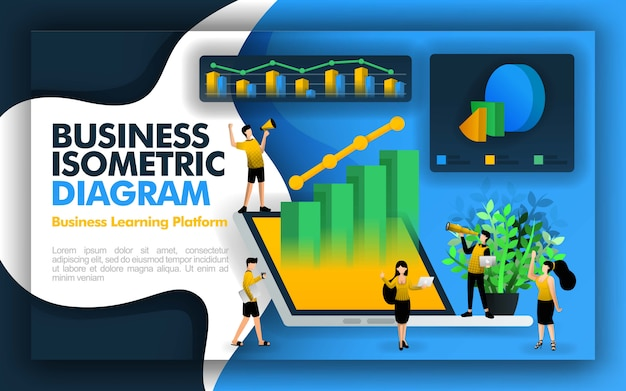 Isometric business illustration page and element