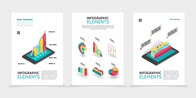 Isometric business infographic posters