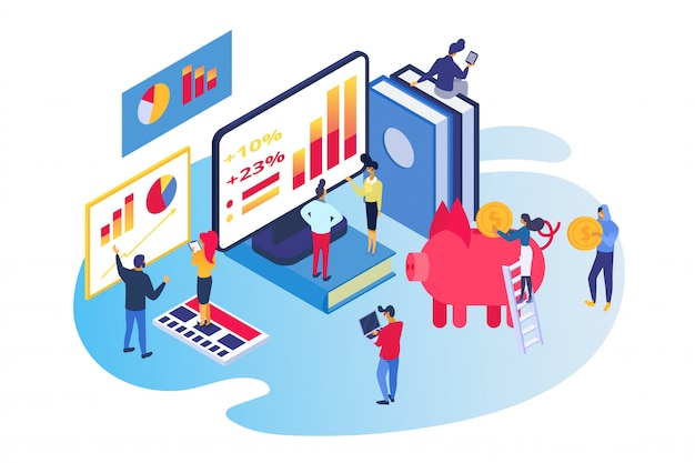 Isometric business investment , cartoon  tiny people work together, invest money to piggy bank on white