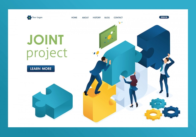 Isometric business joint project of a big team, teamwork, brainstorming landing page