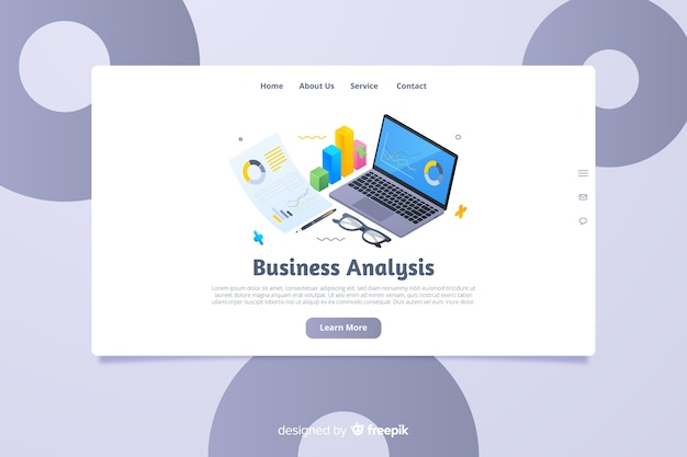 Isometric business landing page template