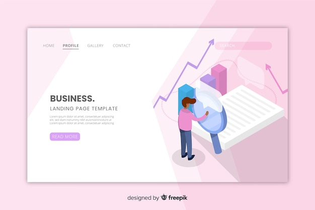 Isometric business landing page for website