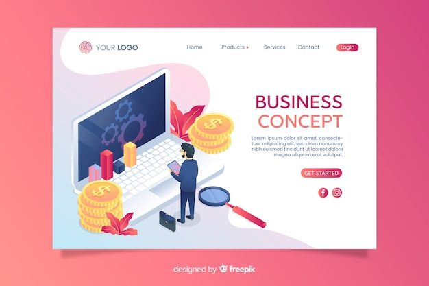 Isometric business landing page with icons