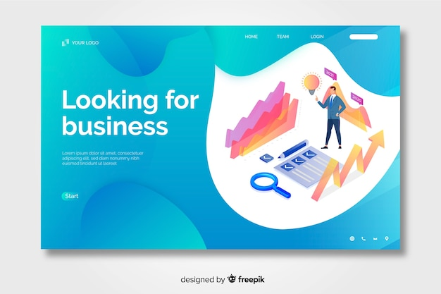 Isometric business landing page with liquid shapes