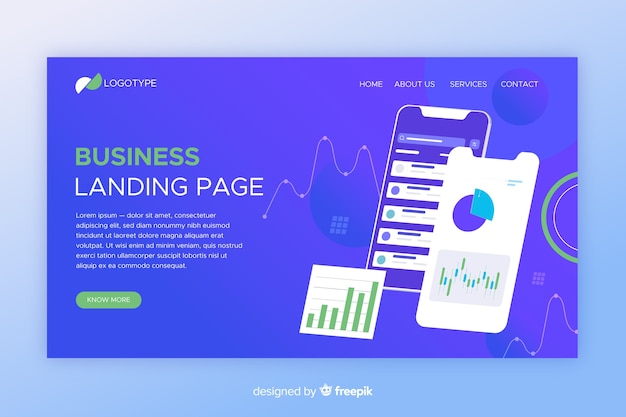 Isometric business landing page with phones