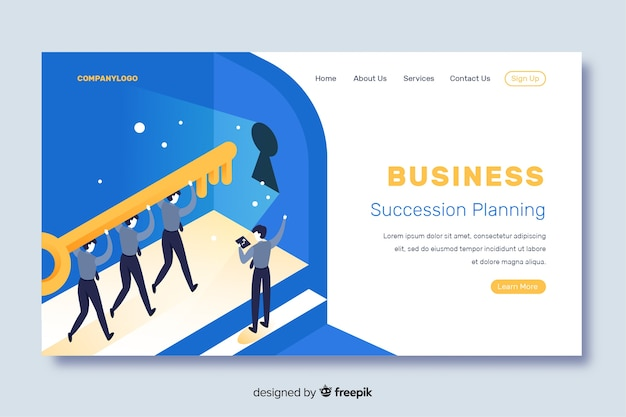 Isometric business landing page with succession planning