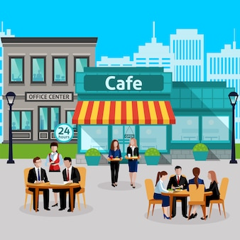 Isometric business lunch people colored composition
