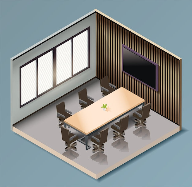 Isometric business meeting room