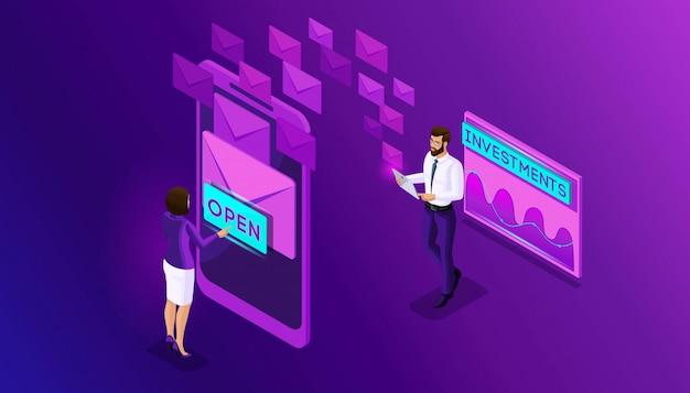 아이소 메트릭 비즈니스 남성과 비즈니스 여성은 스마트 폰으로 이메일을 검색합니다. 분석 및 일정 데이터 메일 링, 메시지 수신. 받은 편지함 이메일