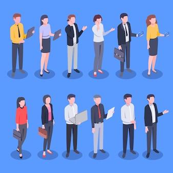 等尺性のビジネスオフィスの人々。銀行員、企業のビジネスマンやビジネスウーマンのイラストセット