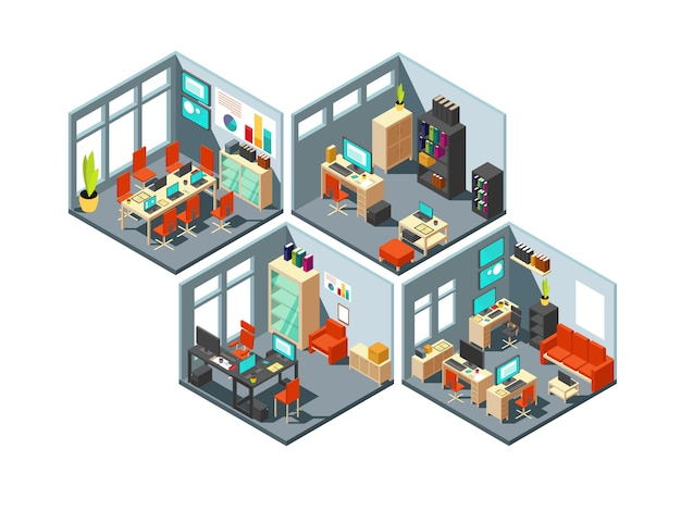 Isometric business offices with different workspaces.