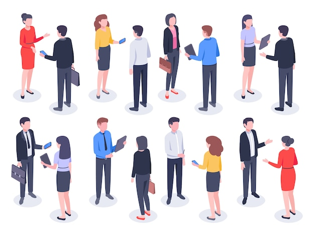 Isometric business people. businessman team, businesswoman working collective and crowd of office worker persons illustration