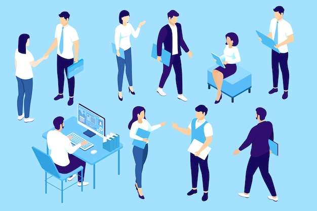 Isometric business people collection