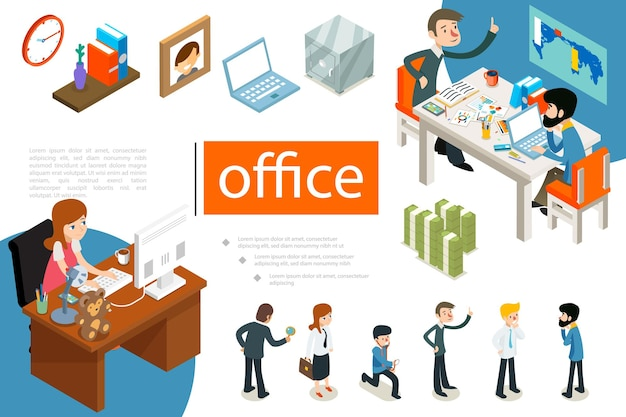 Isometric business people concept with office workers in different poses clock books on shelf photo frame laptop safe money