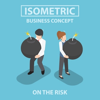 Isometric business people holding heavy bomb on their hands