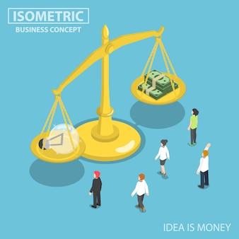 Изометрические деловые люди смотрят на лампочку идей и баланс денег на шкале