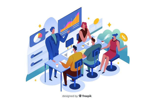Isometric business people in a meeting
