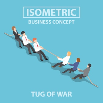 Isometric business people playing tug of war