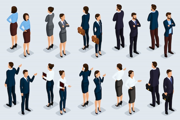 Isometric business people set