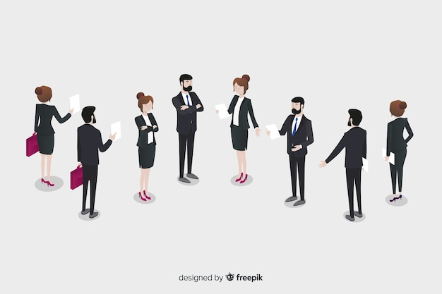 Isometric business people talking together