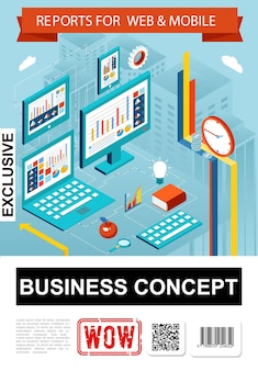 Isometric business report infographic concept with diagrams charts graphs on laptop computer tablet screens clock apple book magnifier gear  illustration