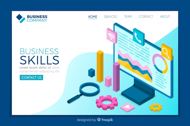 Isometric business skills landing page