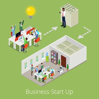 Isometric business start up. flat 3d creative team and successful business.