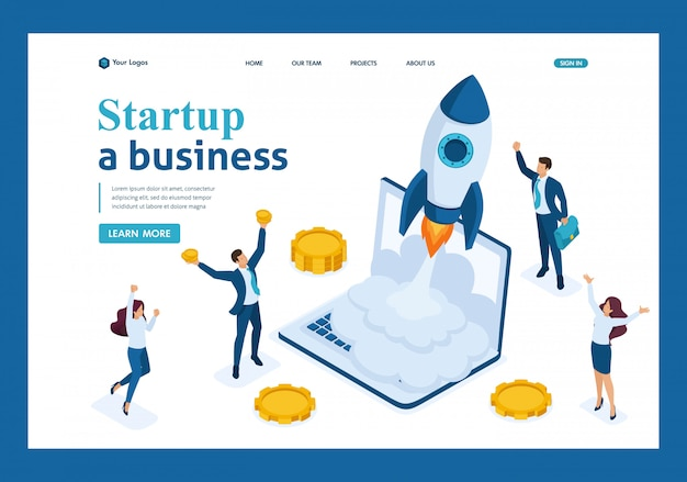 Isometric business startup, businessmen rejoice rocket take-off from laptop, business investment landing page