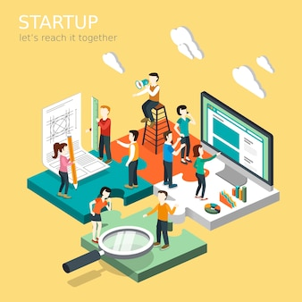 Isometric  of business startup concept