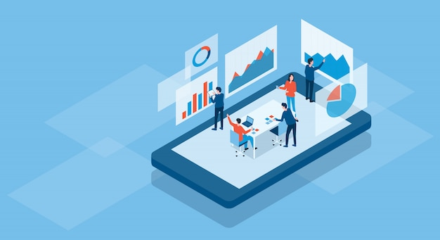 Isometric business team working online concept and business finance investment team analysis graph dashboard concept