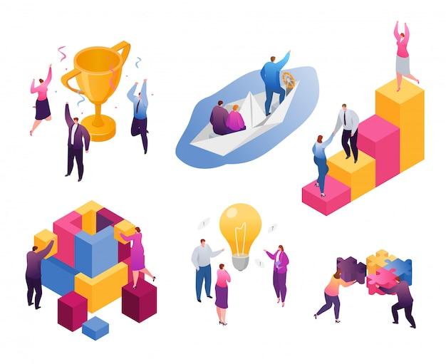 Набор иллюстраций изометрической бизнес-совместной работы, мультяшный крошечный бизнесмен и бизнес-леди работают вместе на белом
